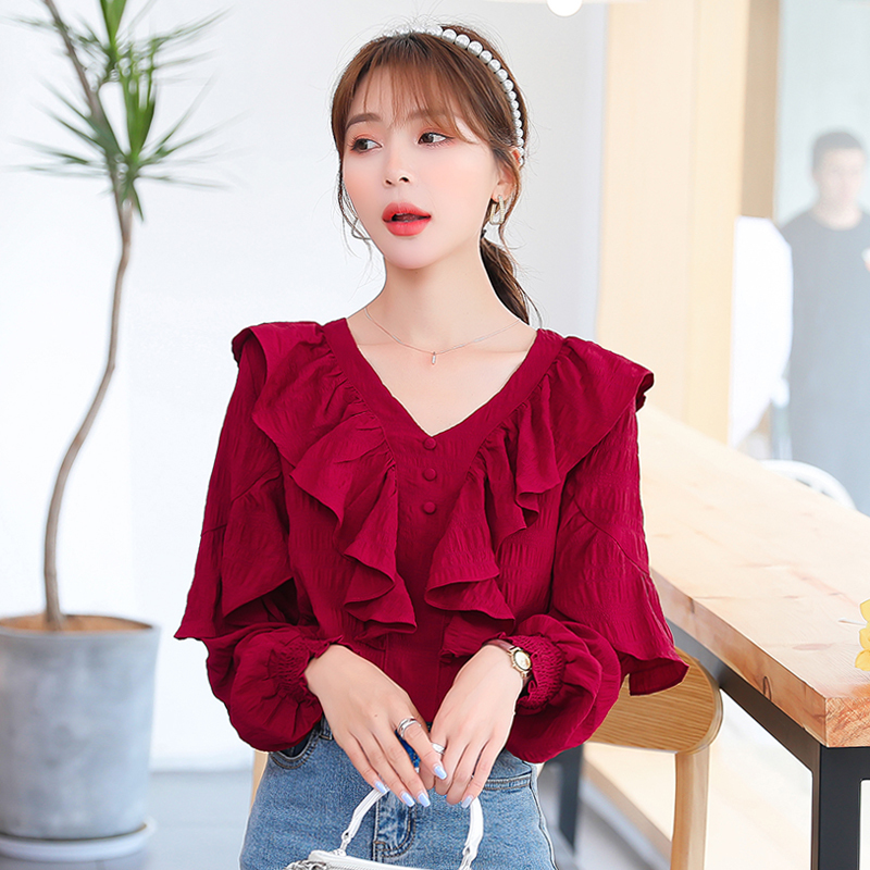 Retro French long sleeve lotus leaf V-neck shirt 2020 spring and Autumn New Korean style red chiffon shirt woman