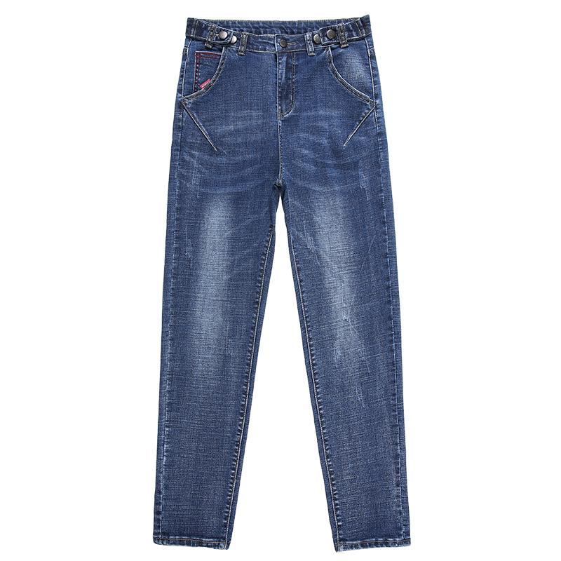宽松哈伦牛仔裤女装高腰加绒2020年秋冬新款女士显瘦直筒老爹裤子