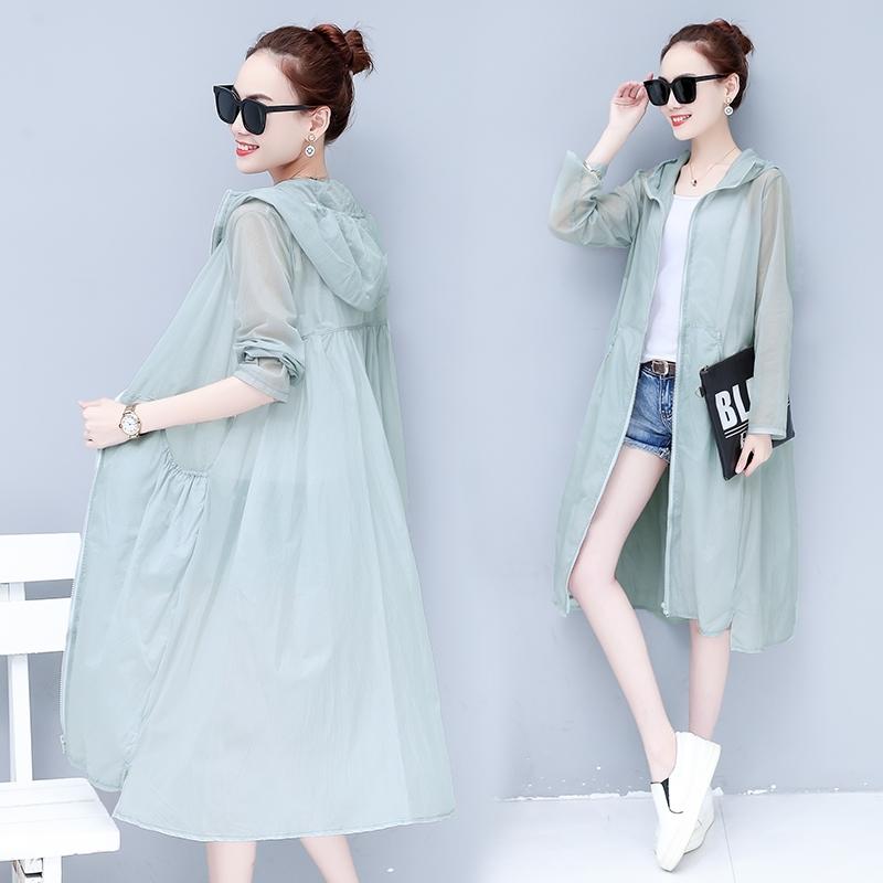 时尚防晒衣服女中长款2018新款韩版士夏季超薄宽松外套百搭开衫潮