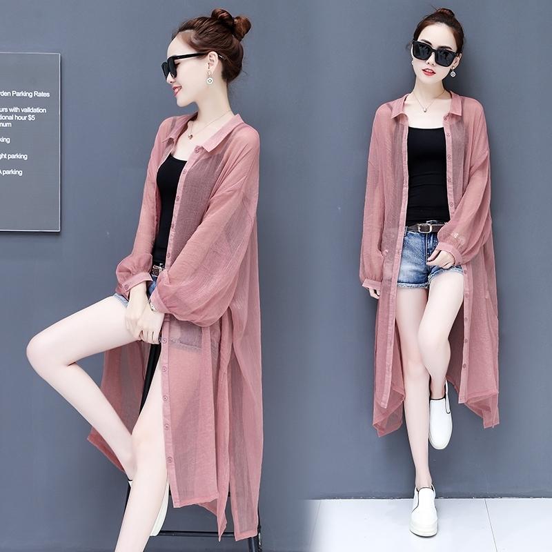 长袖防晒�鹨路�女士中长款超薄宽松时尚开衫外套2018新款韩版百搭