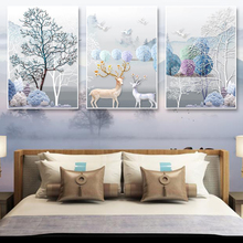 Cross-stitch embroidery 2019 new 5D living room full of embroidered elk large-scale simple modern self-embroidered hand-made triple painting