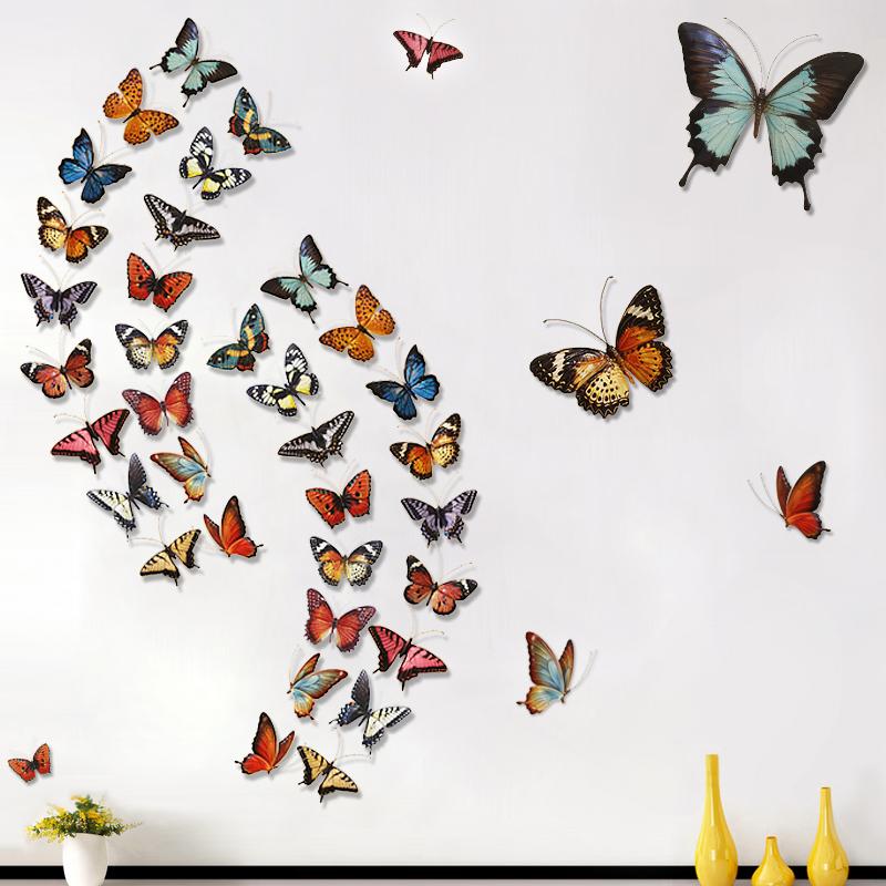 墙饰田园铁艺仿真立体蝴蝶壁饰创意家居餐厅服装店背景墙上装饰品