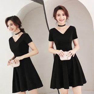 赫本小黑裙2020新款夏一字肩V領韓版顯瘦氣質法式復古黑色連衣裙