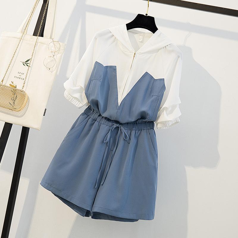 胖mm2020夏装新款宽松显瘦连衣裙洋气减龄大码女装遮肚连体短裤裙