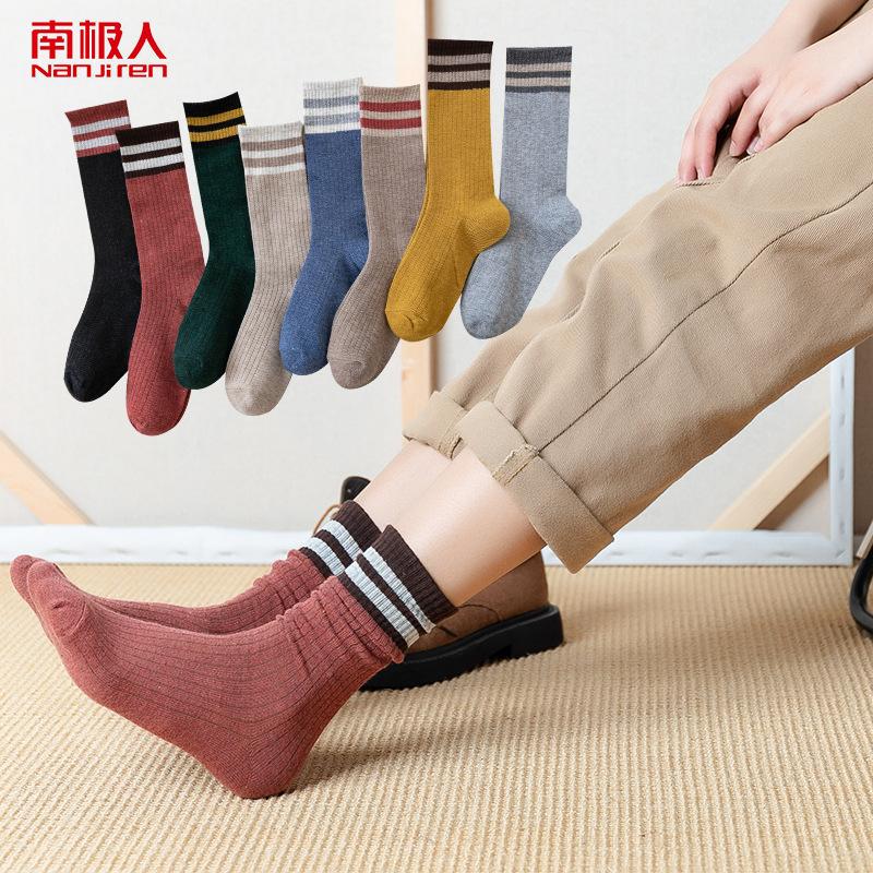 南極人の5足の女性の中筒の靴下の2020年の新型の秋の冬季の長い筒の純綿の色の仏陀は積み重ねた靴下を結びます