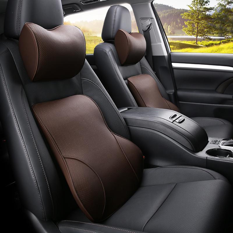 汽车用品护腰垫腰靠背记忆棉座椅主驾驶员四季通用背靠垫头枕套装