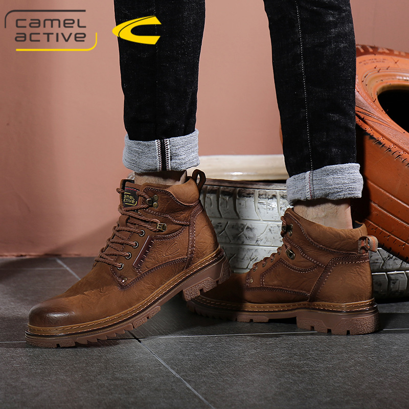 German camel dynamic mens boots leather Plush warm cotton shoes mens leather short boots high top Martin boots mens tooling boots