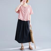 棉麻短袖T恤女夏季2019新款宽松大码荷叶边开衫显瘦亚麻衬衫上衣