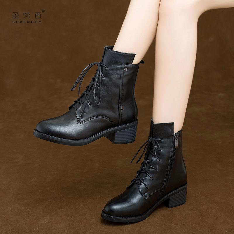 2018新款女鞋秋冬季系带马丁靴女英伦风中跟真皮鞋粗跟短靴加绒棉