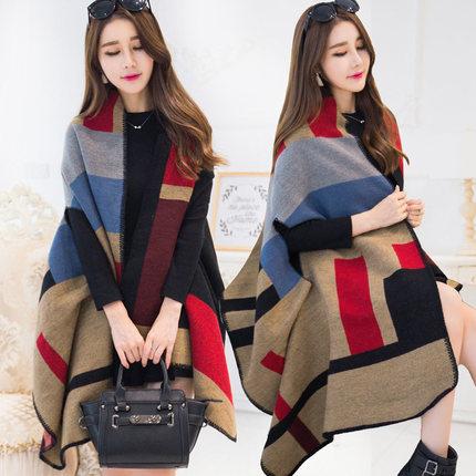 【故事女郎服饰旗舰店】披肩两用围巾女秋冬季保暖斗篷外套