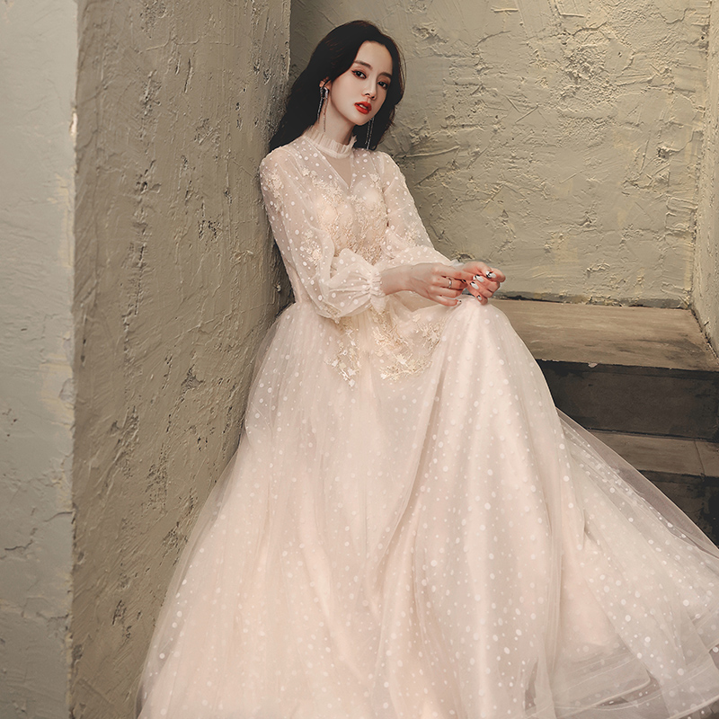 香槟色长袖晚礼服2020新款轻奢女裙