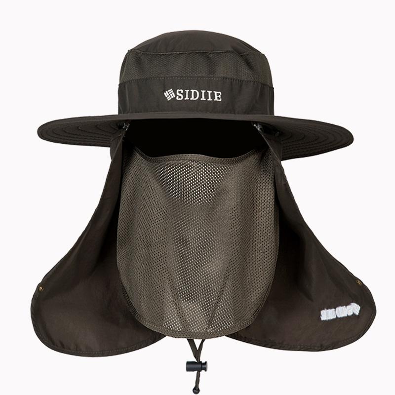 防晒帽子男士夏季钓鱼帽户外渔夫帽遮脸防紫外线太阳帽大檐遮阳帽