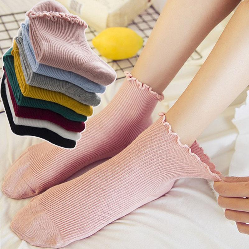 韩版松口女短筒袜春秋薄款女士纯棉船袜袜夏季纯色花边潮低帮女袜19.80元包邮