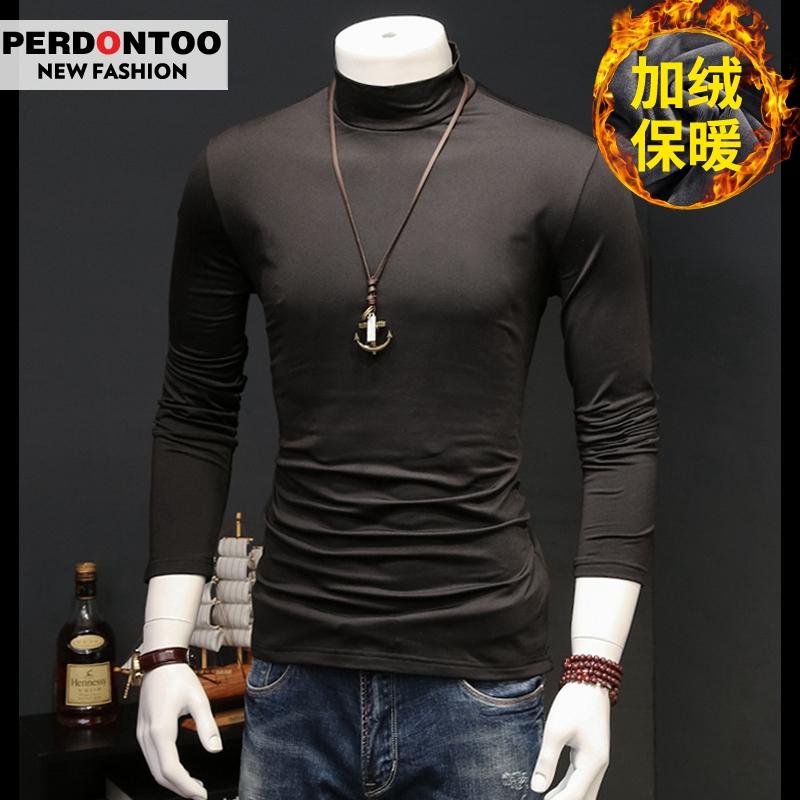 冬装加绒男士长袖T恤半高领纯色男装卫衣打底衫衣服保暖秋衣上衣