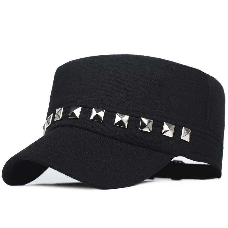帽子女士鸭舌帽春秋季韩版平顶帽军帽男休闲运动帽纯色铆钉棒球帽