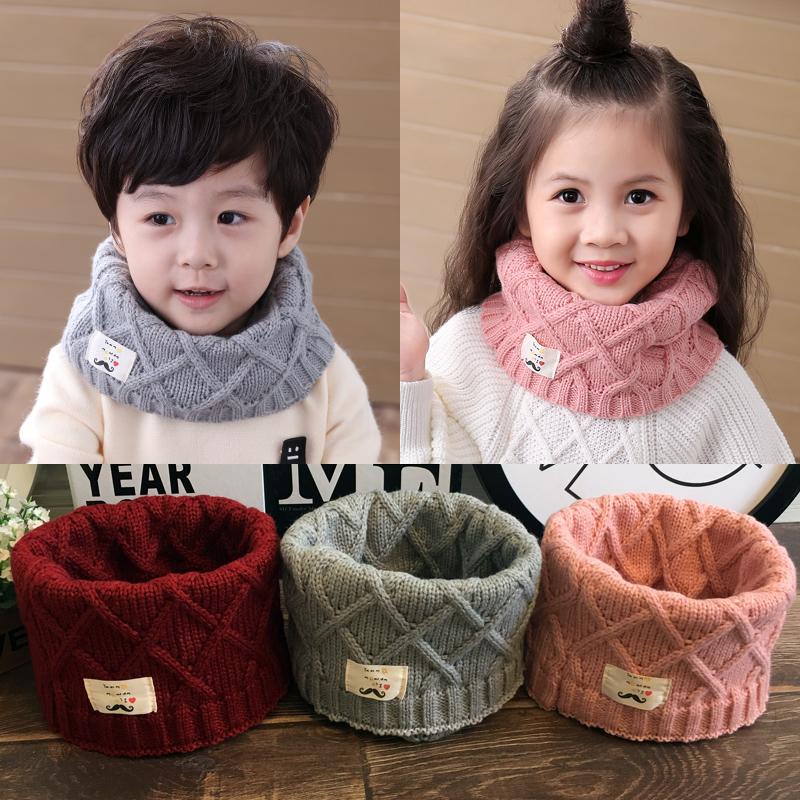 韩版儿童围巾秋冬季节可爱宝宝围脖男女童针织毛线保暖套头脖套