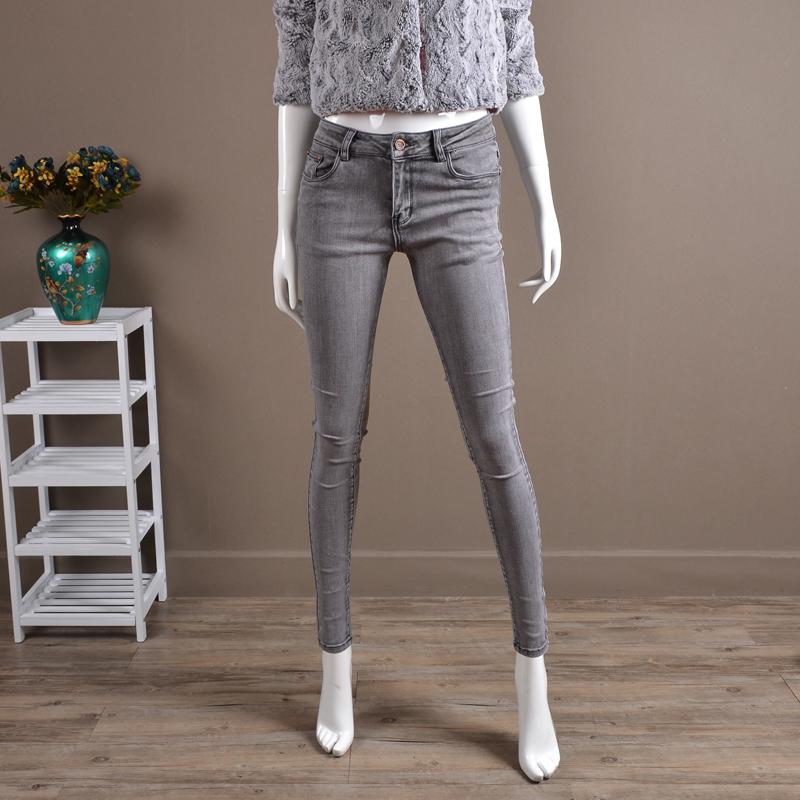 Autumn light grey jeans womens elastic cotton Leggings Slim Pencil Pants Large tight pants