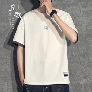 日系假两件男士短袖潮牌夏季t恤