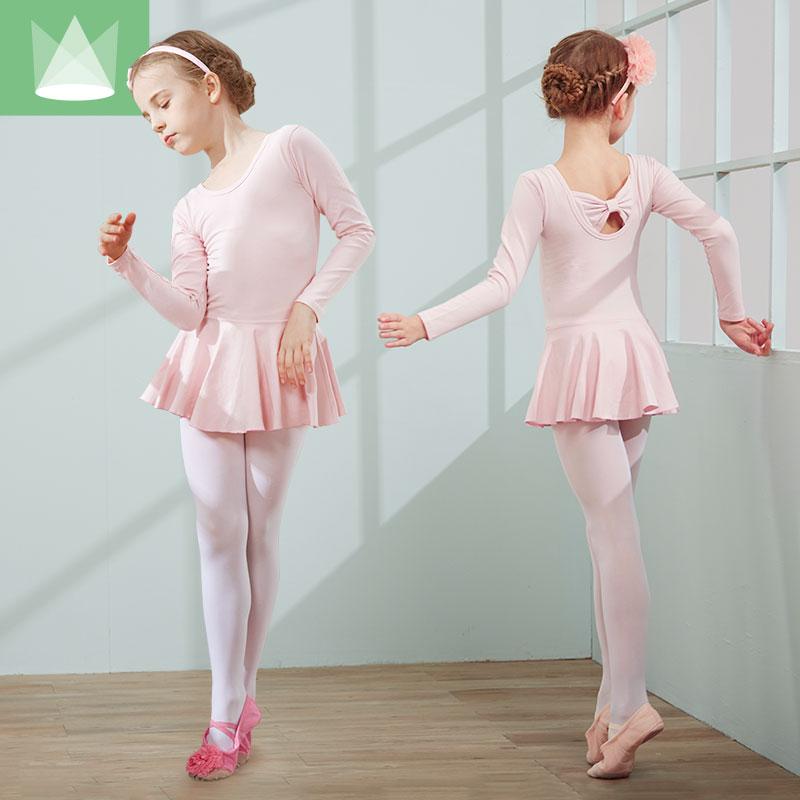 冬秋季舞蹈服儿童女童芭蕾舞裙幼儿长袖练功服少儿考级中国舞服装