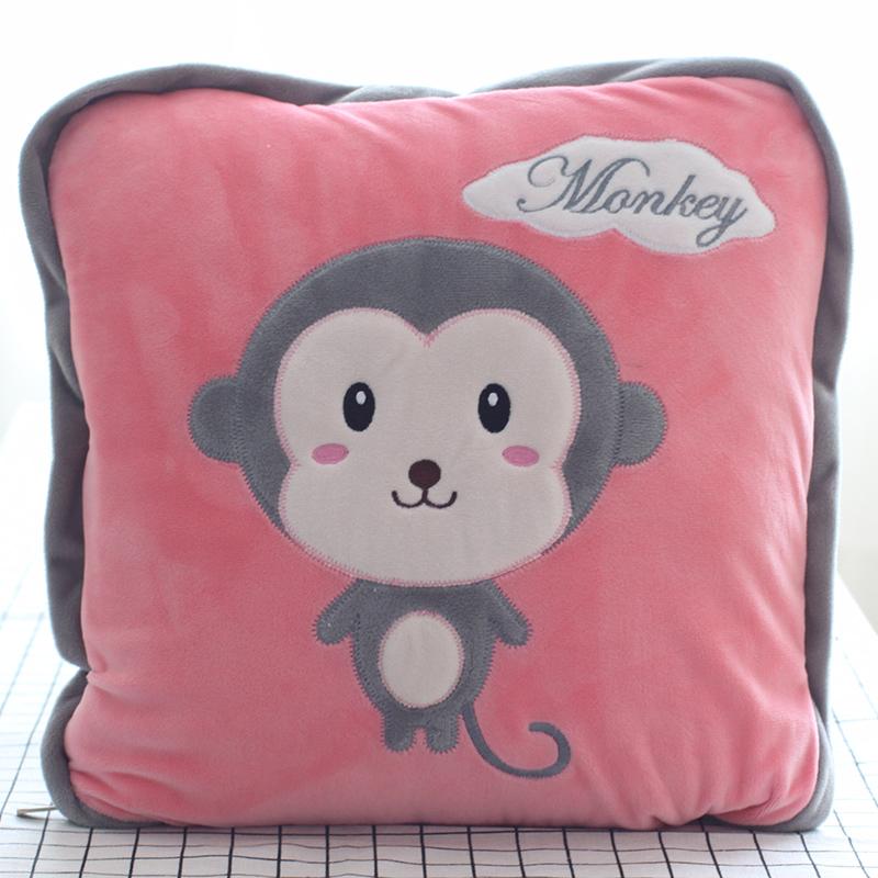 可爱午睡枕头汽车折叠抱枕被子两用靠垫办公室珊瑚绒空调靠枕毯子