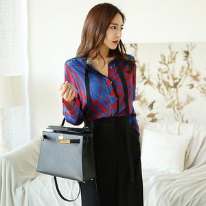 7677#【高档女装】新款韩版气质两件套印花系带衬衫上衣收腰显瘦阔腿长裤套装