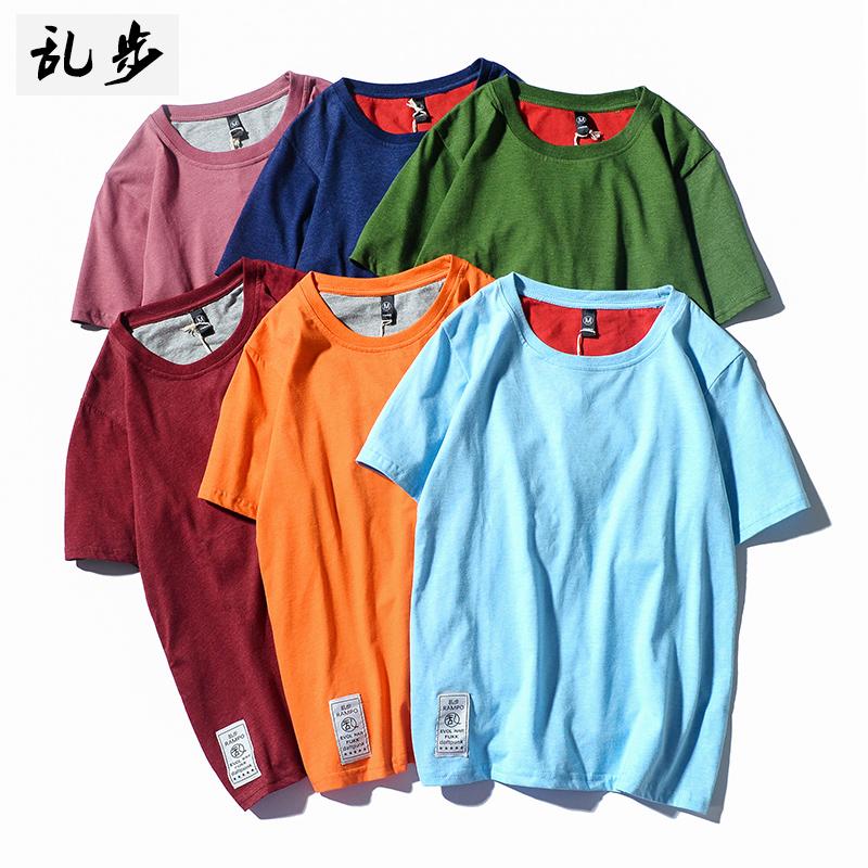 夏季韩版潮流半袖男女情侣装体恤潮牌圆领短袖t恤简约纯色打底衫