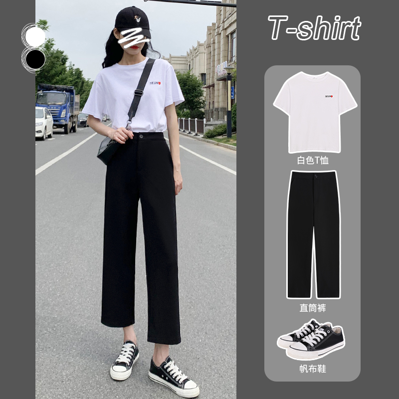 2021夏季黑色直筒宽松九分西装裤子质量怎么样