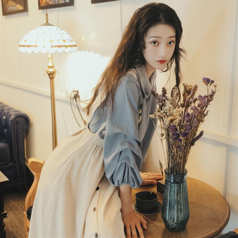 法国小众秋冬款两件套装洋气减龄裙法式复古上衣衬衫配背带连衣裙