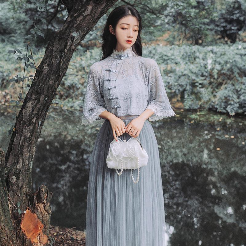 早秋新款智熏egg裙法式初恋很仙的复古国风盘扣拼网纱长裙三件套