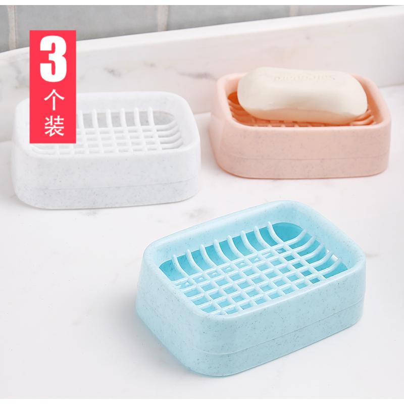沥水双层创意塑料旅行手工放香皂盒有赠品
