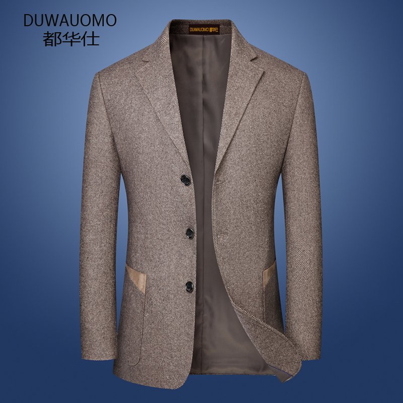 Casual one-piece top suit mens wool three button patch dad suit loose large