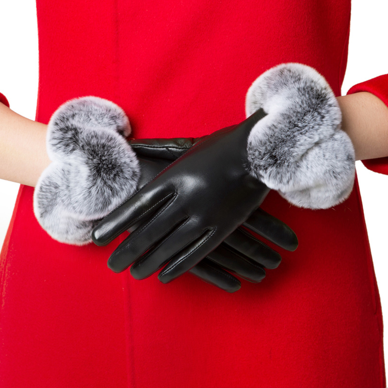 Gansa touch screen leather gloves for women autumn and winter lovely hairy mouth lady gloves with plush and thickening for warmth and windproof cycling