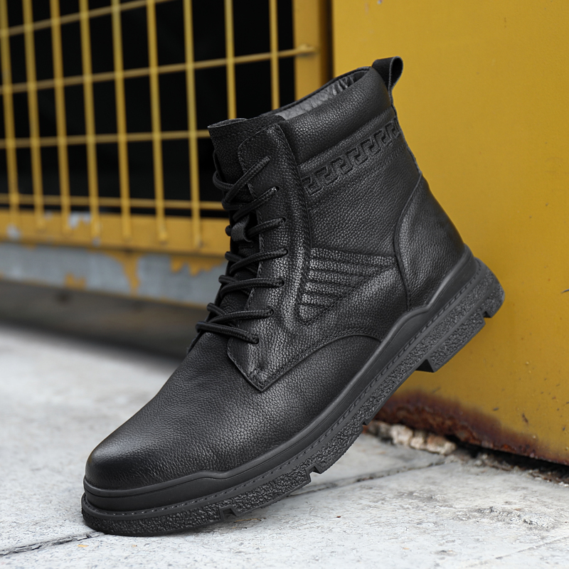 Martin boots mens leather high top casual tooling shoes trend thick soled British Wind locomotive boots versatile desert boots