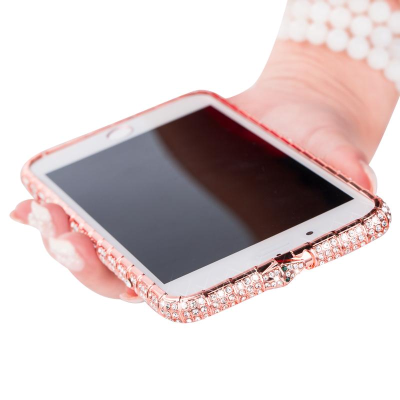 躍寧 iPhone6plus水鑽金屬邊框蘋果6s鑲鑽手機殼蘋果6p帶鑽奢華女