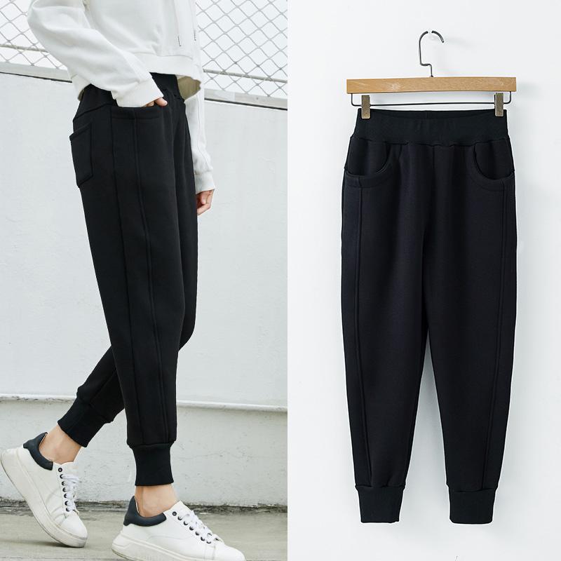 冬季新款休闲加绒黑色小脚显瘦裤子限99999张券