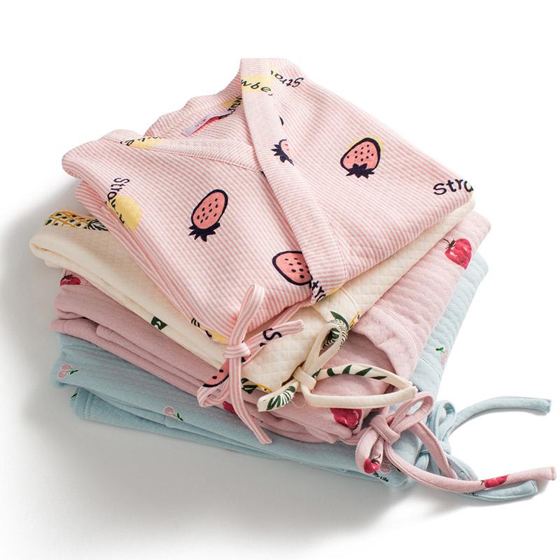 梦蜜秋冬和服空气棉孕妇哺乳睡衣春秋女产妇家居服产后纯棉月子服买三送一