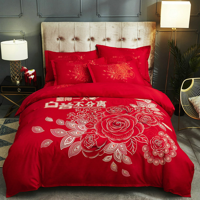All cotton four piece wedding suite red quilt cover happy naked bed sheet Pure Cotton wedding new house bedding