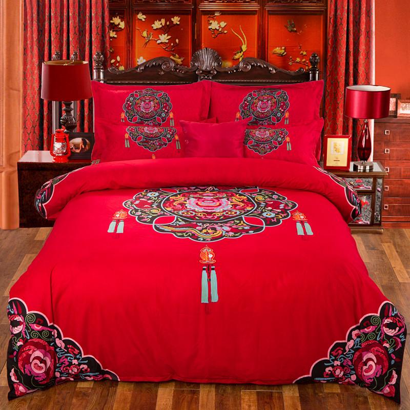 Big red four piece all cotton wedding bedding wedding quilt spring and Autumn Wedding bed goods wedding room wedding Suite