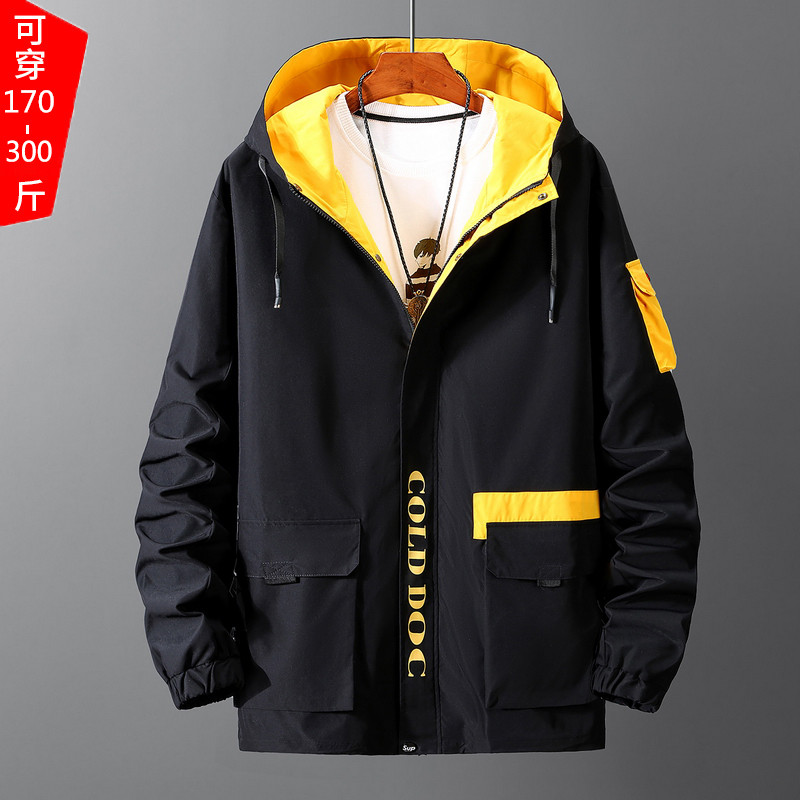 Oversize spring and autumn windbreaker jacket for mens fattening and oversized work jacket