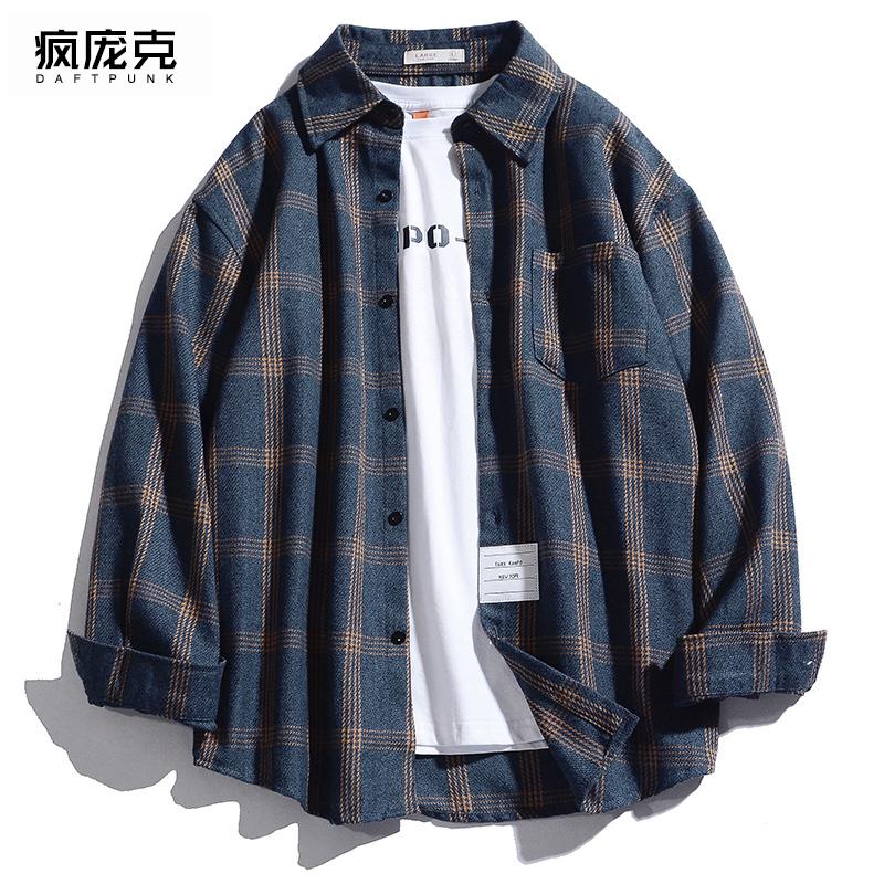 韩版宽松格子衬衣潮情侣外套春季新款深蓝色秋装港风衬衫男士长袖图片