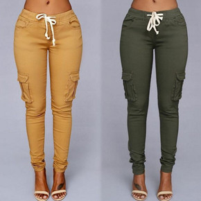 2019Fashion elastic trousers jeans women ladies pants женские брюки, цена 332 руб