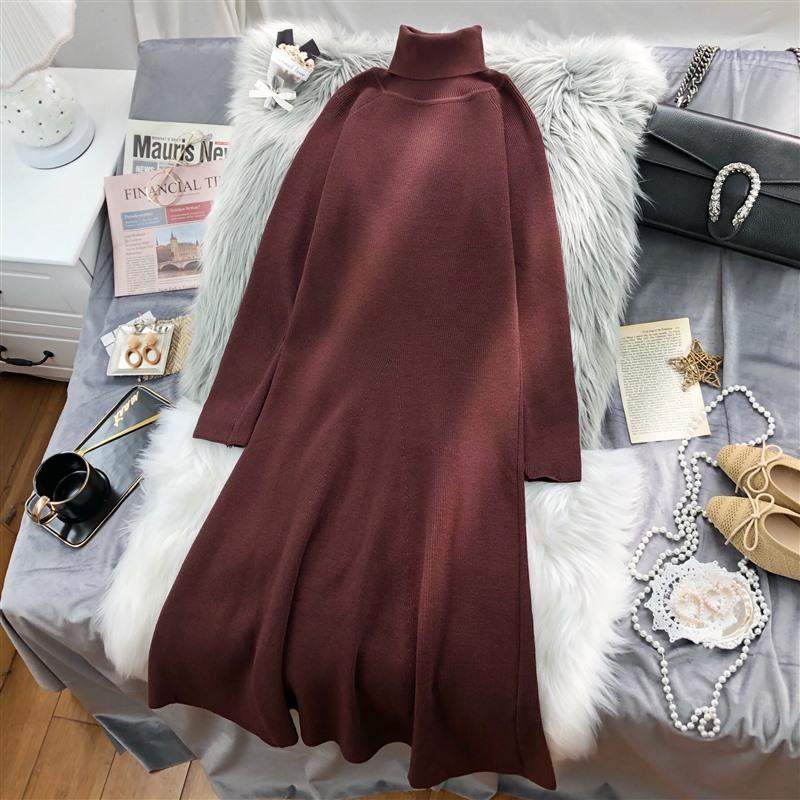 2020新款秋冬装中长款过膝连衣裙毛衣女宽松针织套头长袖纯色高领