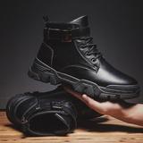 男士马丁靴子黑色防水高帮皮鞋工装雪地加绒保暖棉鞋男鞋冬季潮鞋