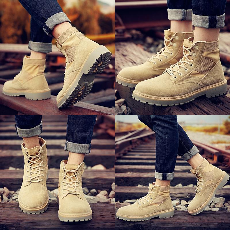 马丁靴男靴子军靴雪地中帮工装沙漠靴英伦风秋冬季高帮男鞋短靴潮