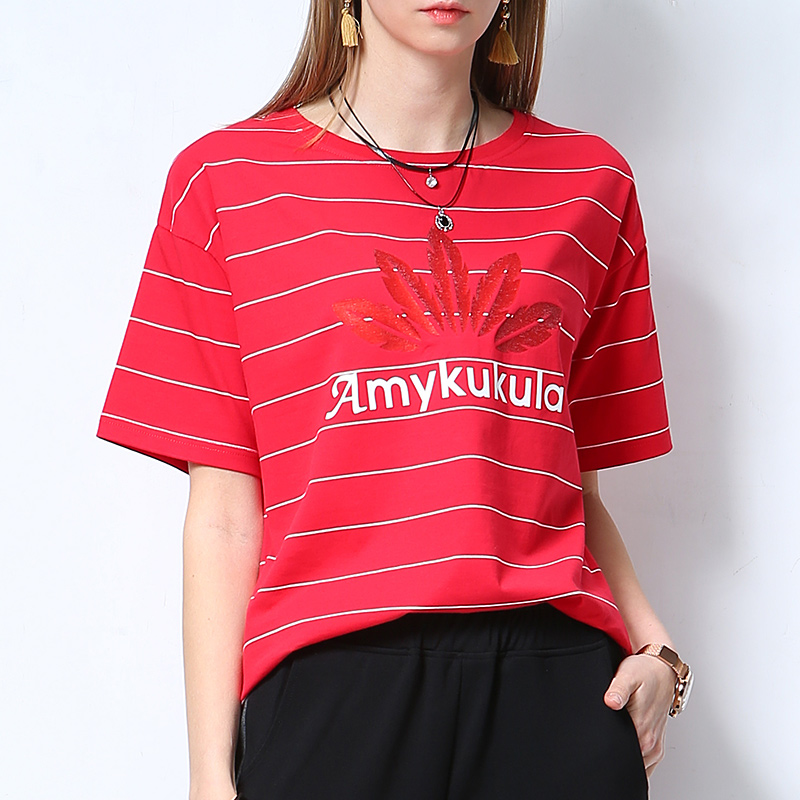 Color red stripe T-shirt women 2020 new Korean version large round neck short sleeve loose cotton letter summer thin