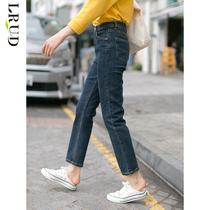 LRUD紧身牛仔裤女2020春季新款韩版高腰阔腿裤直筒裤子百搭服饰潮