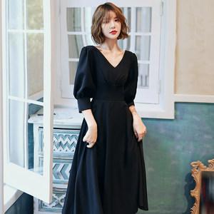 黑色宴会晚礼服2020新款高贵优雅气质中长款法式赫本晚装连衣裙女