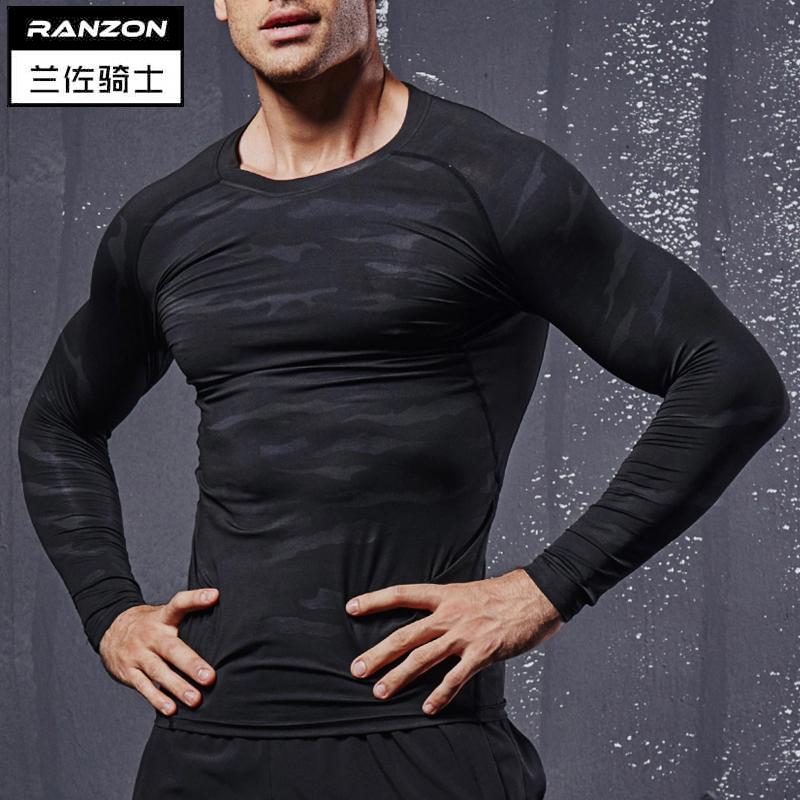Баскетбол длинный и обтягивающий рукав движение фитнес быстросохнущие зима обучение одежда мужчина установите бег мышца высокоэластичный братья одежда