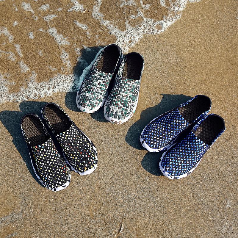 夏季韩版潮流男鞋子百搭透气编织鞋运动休闲跑步一脚蹬懒人潮鞋