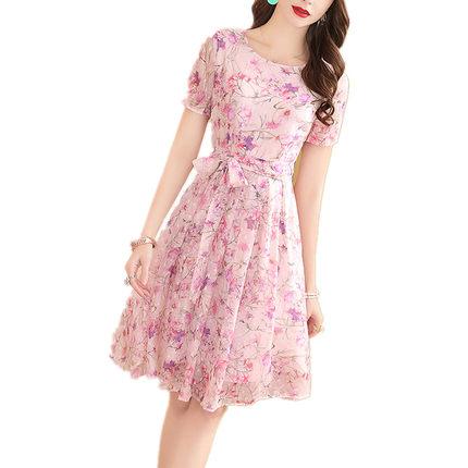 显白显瘦粉色印花雪纺女夏装a字裙